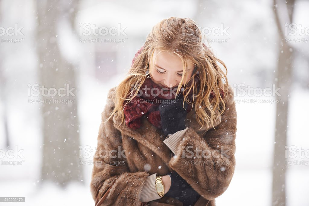 Wrapped in a warm wintery coat stock photo