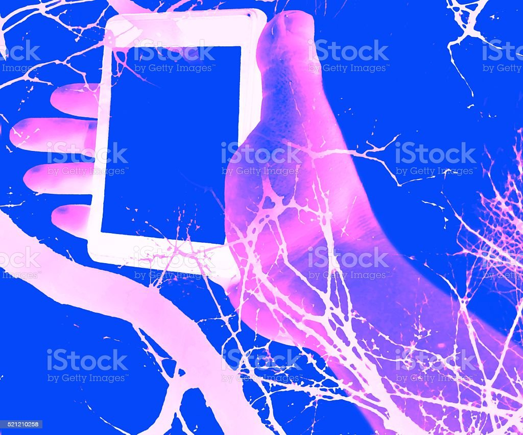 wrapped in nature multiple exposure intertwined hand and branches stock photo