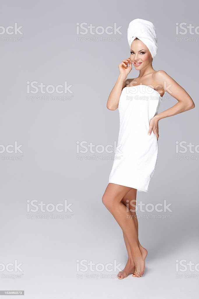 Wrapped in towel stock photo
