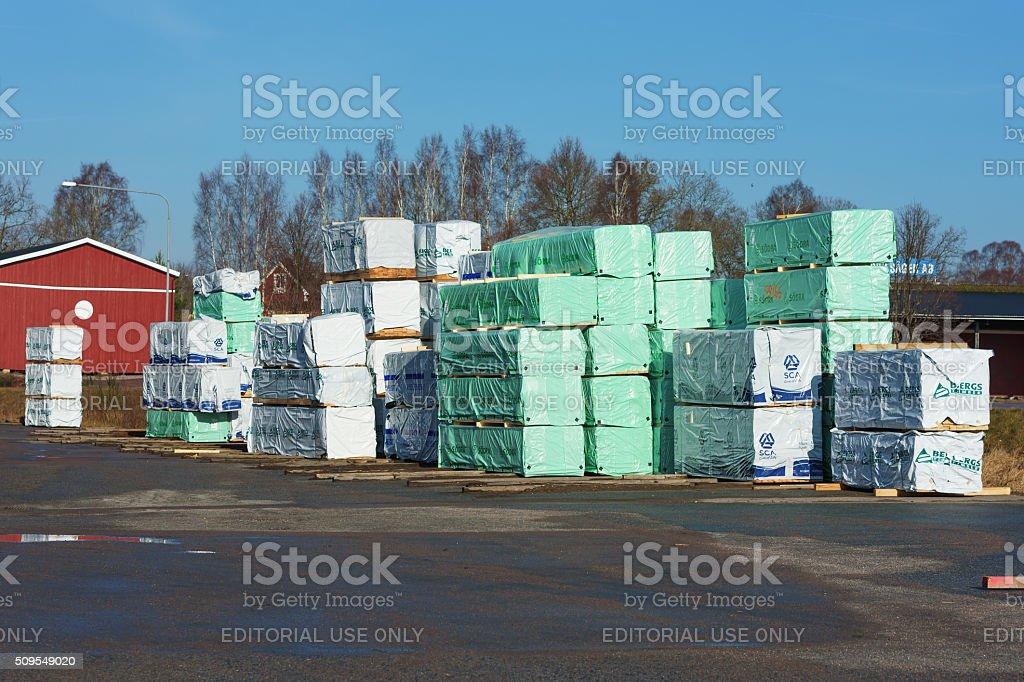 Wrapped lumber stock photo