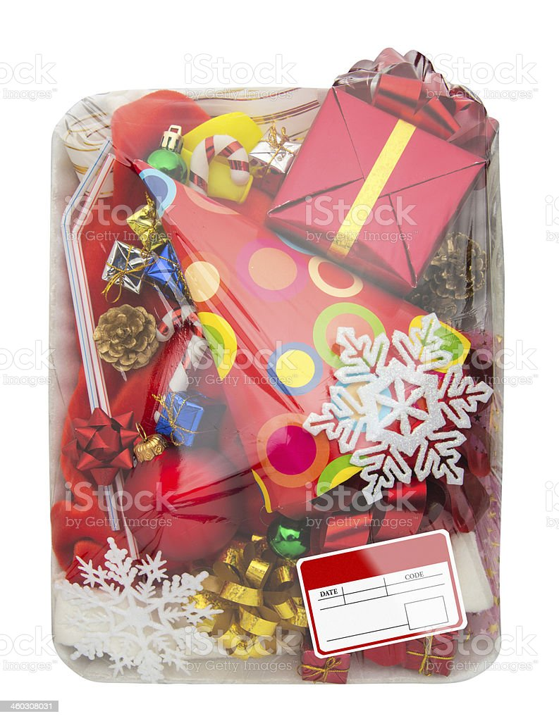 Wrapped plastic food container with  gifts box stock photo