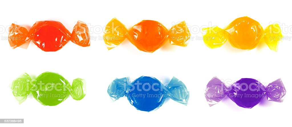 Wrapped Rainbow Candies stock photo