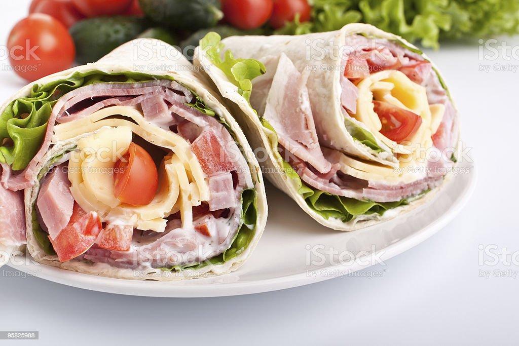 wrapped tortilla sandwich rolls stock photo