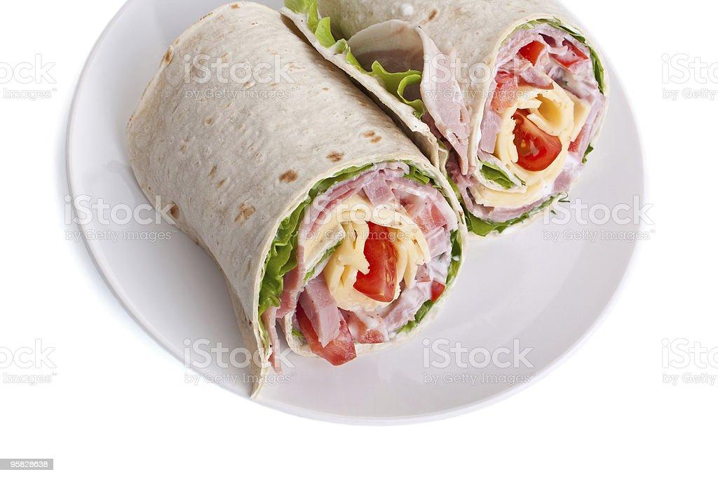 wrapped tortilla sandwich rolls royalty-free stock photo