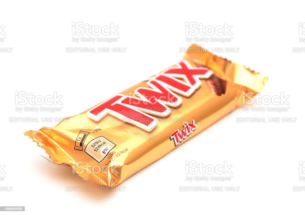 Wrapped Twix candy bar stock photo