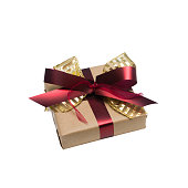 Wrapped vintage gift box with red ribbon bow