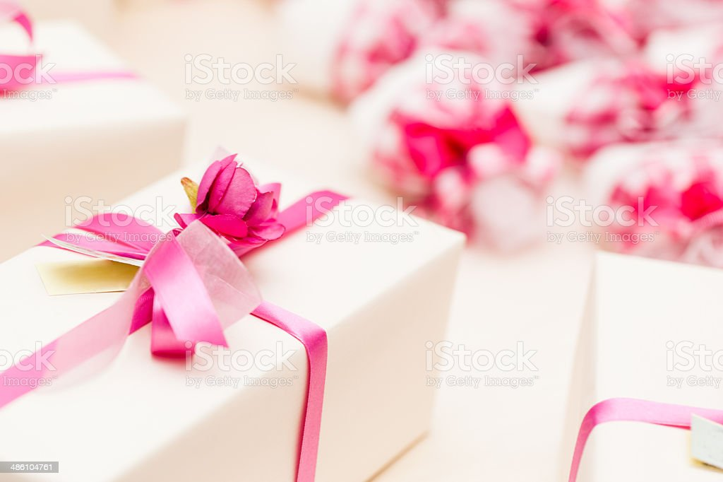 Wrapped Wedding gifts stock photo
