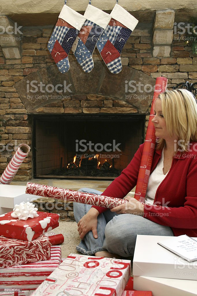 Wrapping a present royalty-free stock photo