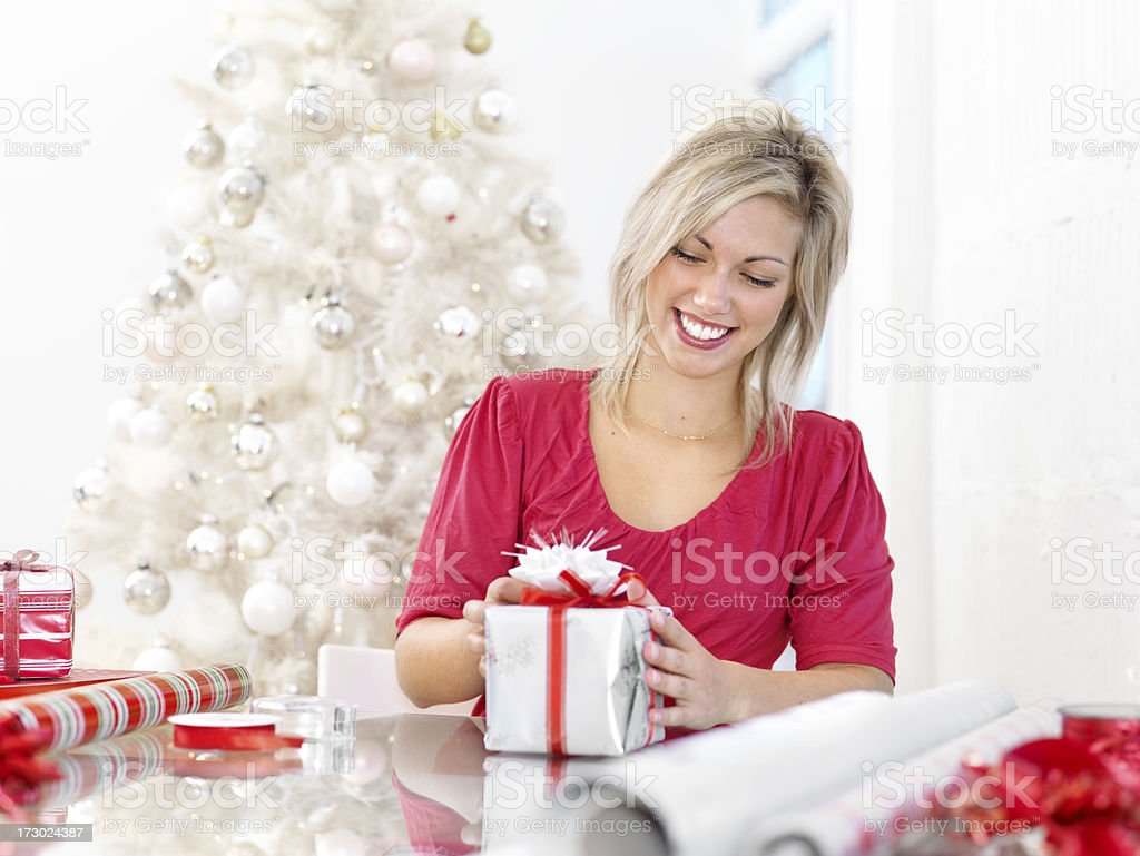 Wrapping Christmas Gifts royalty-free stock photo