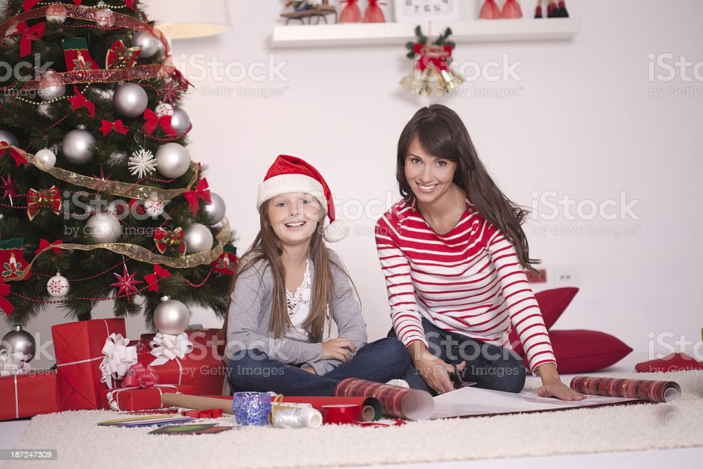 Wrapping Christmas presents royalty-free stock photo