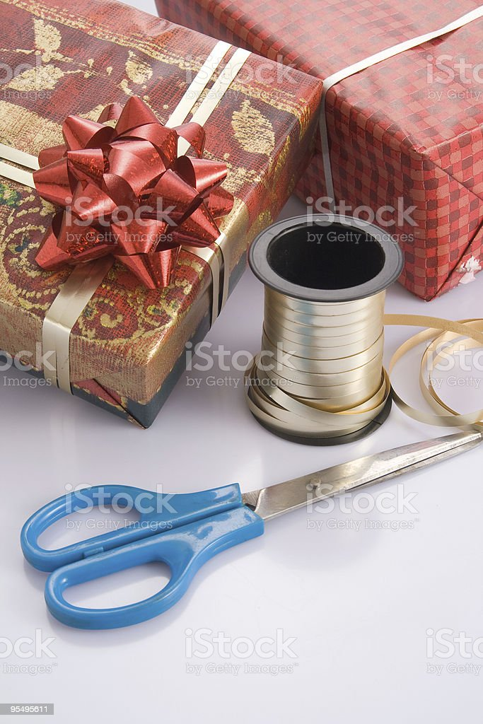 wrapping gift for the holidays royalty-free stock photo