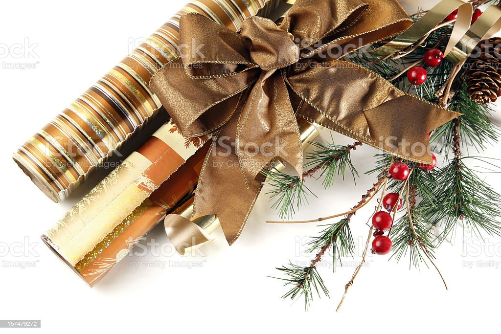 Wrapping Paper and Christmas Decorations royalty-free stock photo