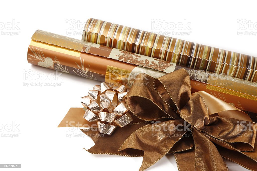 Wrapping Paper Rolls with Bows and Ribbons royalty-free stock photo