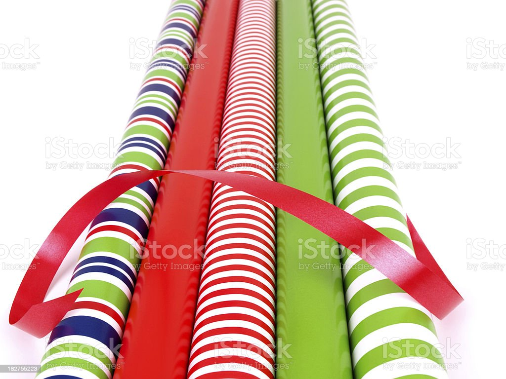 Wrapping Paper Rolls with Ribbon royalty-free stock photo