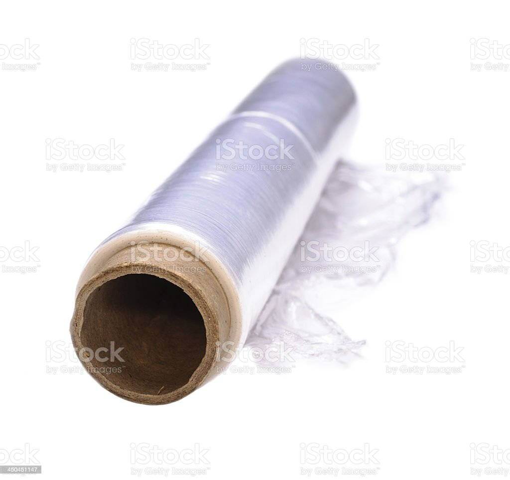 Wrapping plastic stretch film stock photo