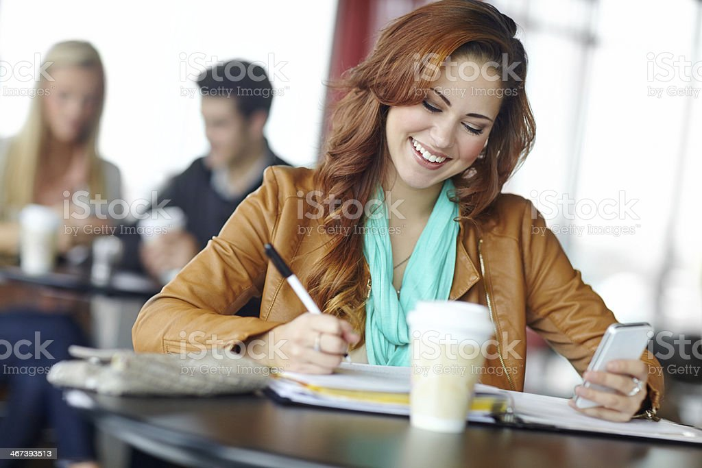 Wrapping up her assignment... royalty-free stock photo