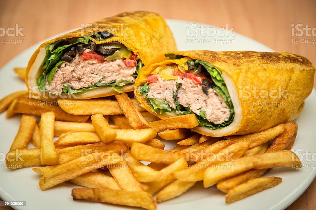 Wraps with fries stock photo