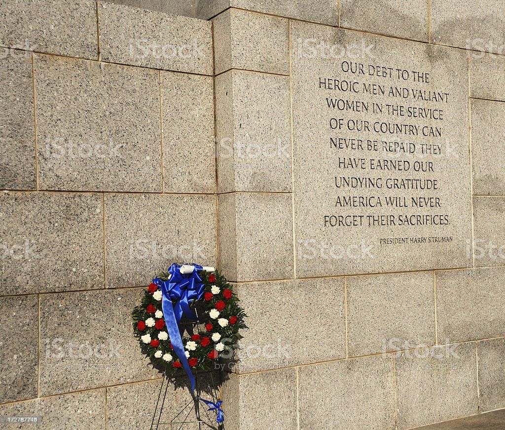 Wreath at World War II Memorial Washington DC stock photo