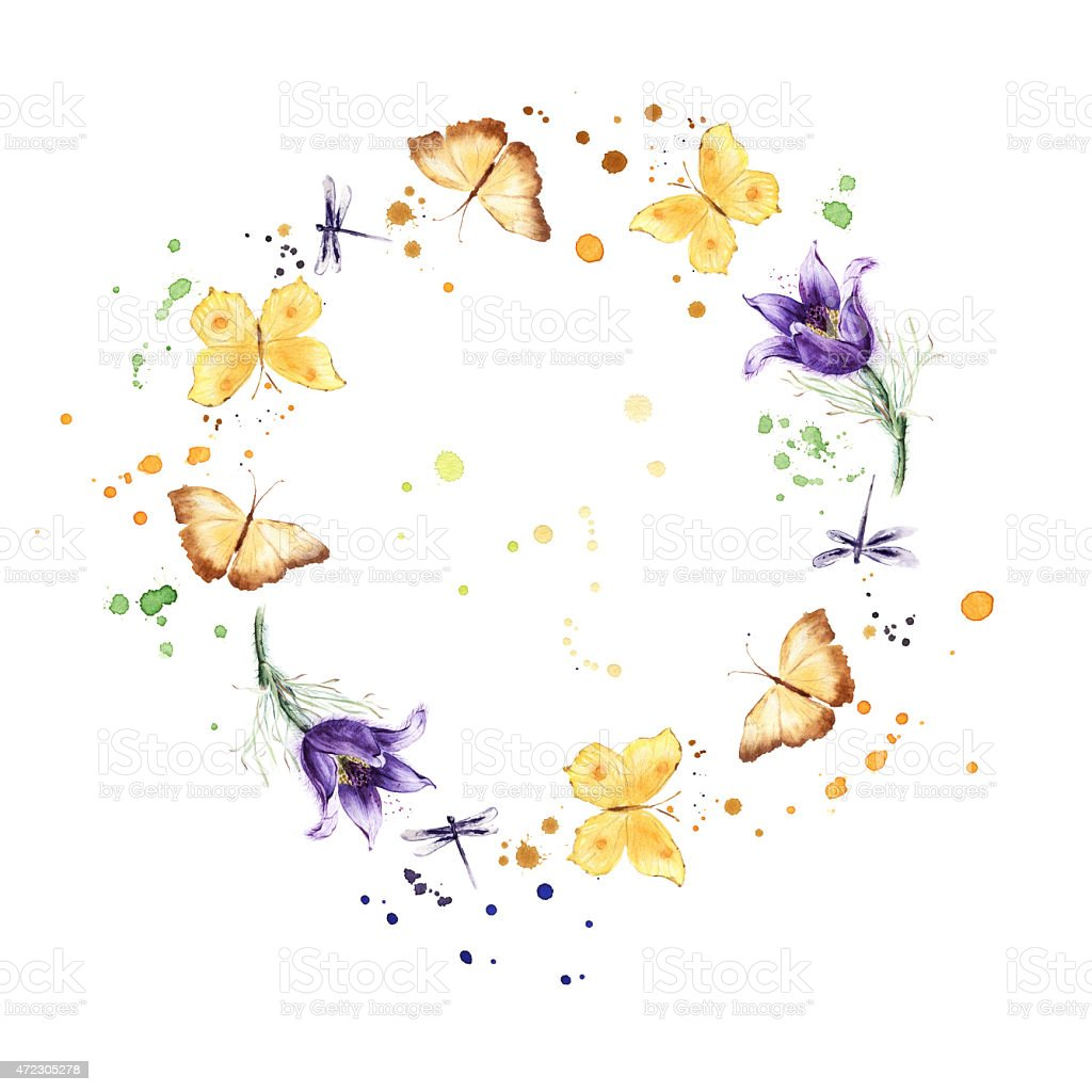 Wreath border frame with butterflies, flowers. Watercolor stock photo