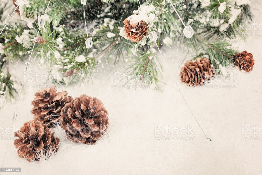 Wreath Garland Pine Border on a Textured Grunge Background stock photo