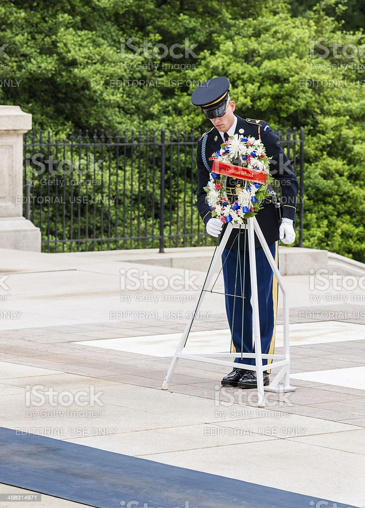 Wreath Laying at Tomb of Unknown Soldier, Arlington, Virginia royalty-free stock photo
