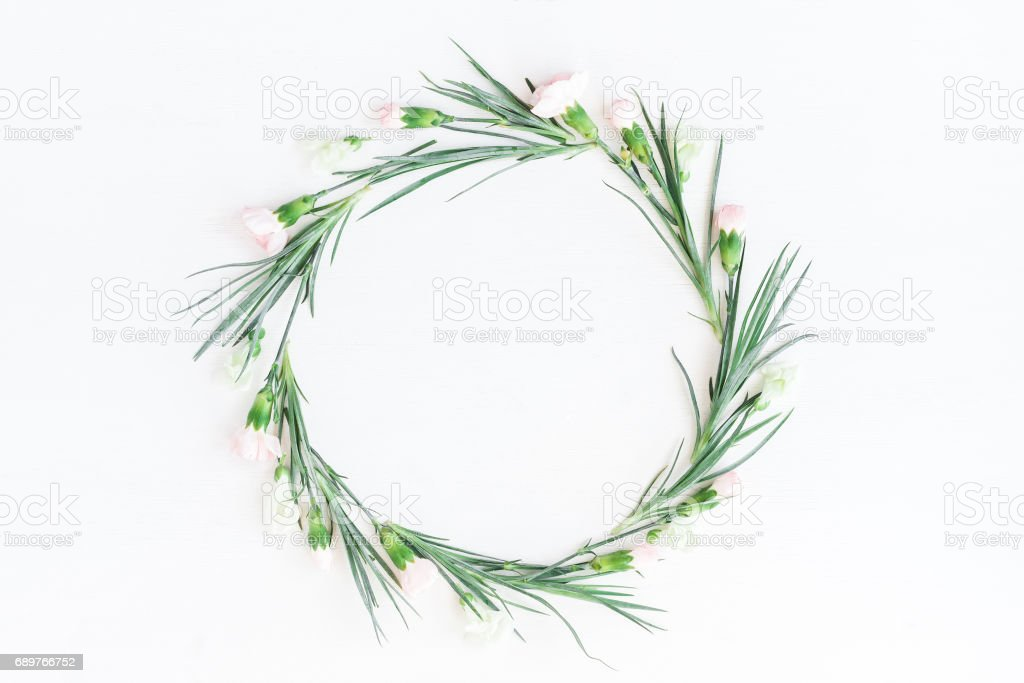 Wreath made of carnation flowers on white background stock photo