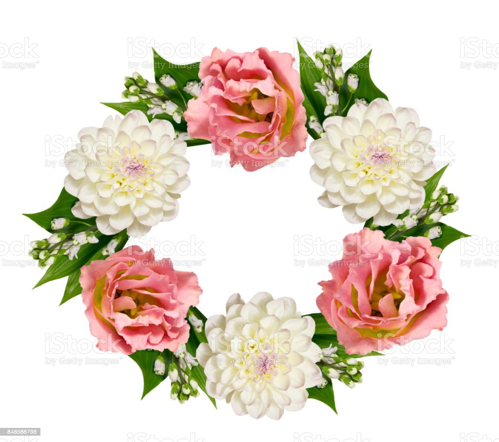 Wreath of eustoma  and apple tree flowers on a white background stock photo