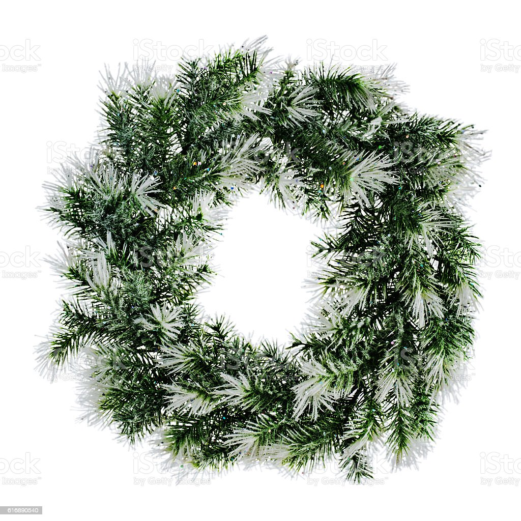 wreath of fir branches isolated on white background stock photo