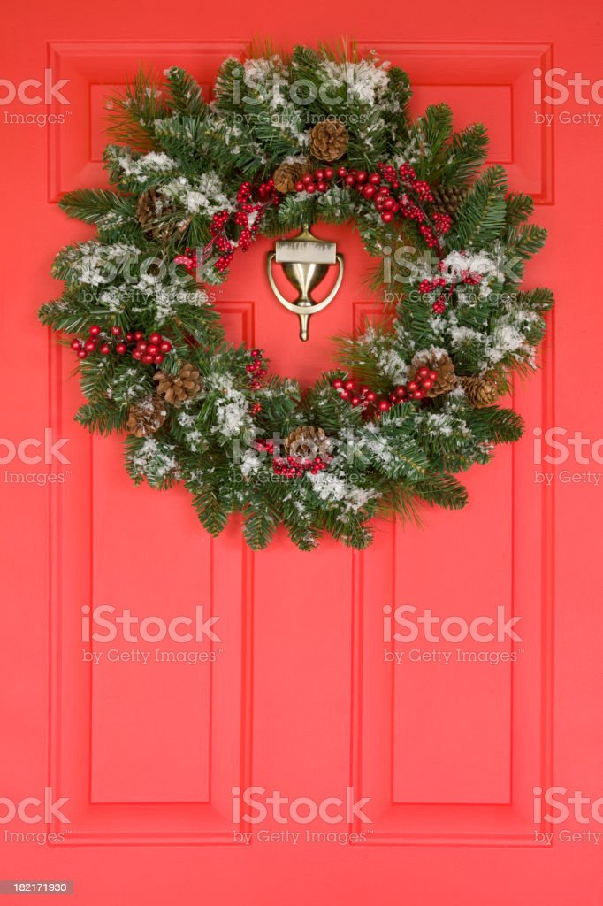 Wreath on a Front Door royalty-free stock photo