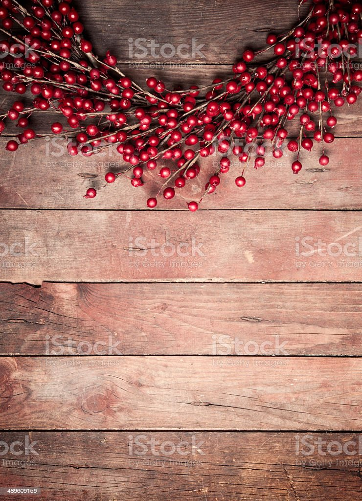 Wreath on a Rustic Wood Background stock photo