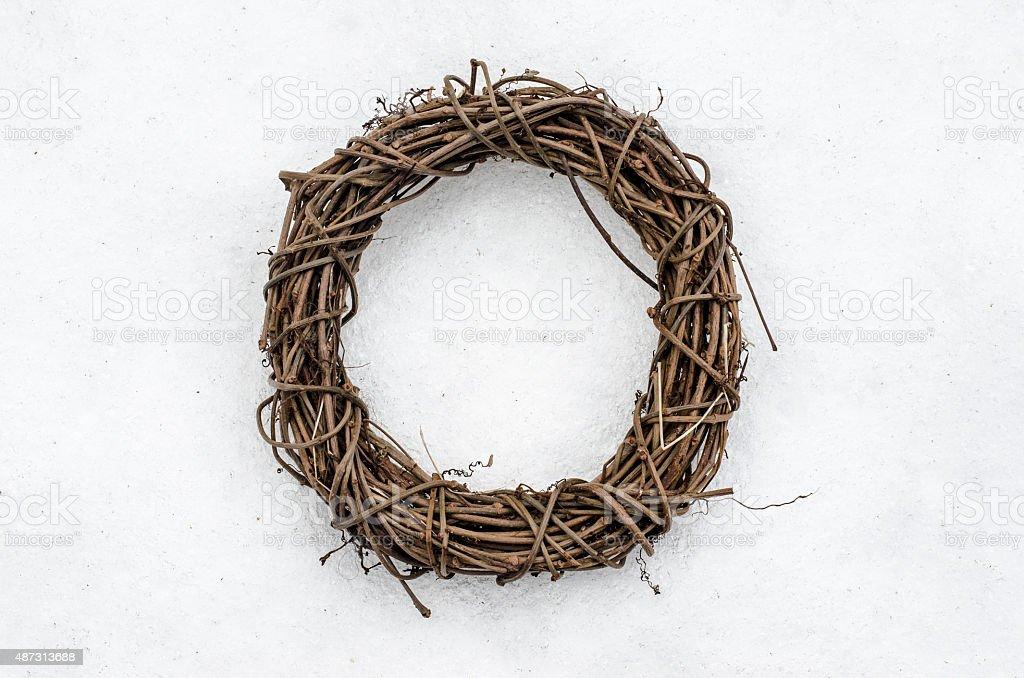 Wreath on snow stock photo