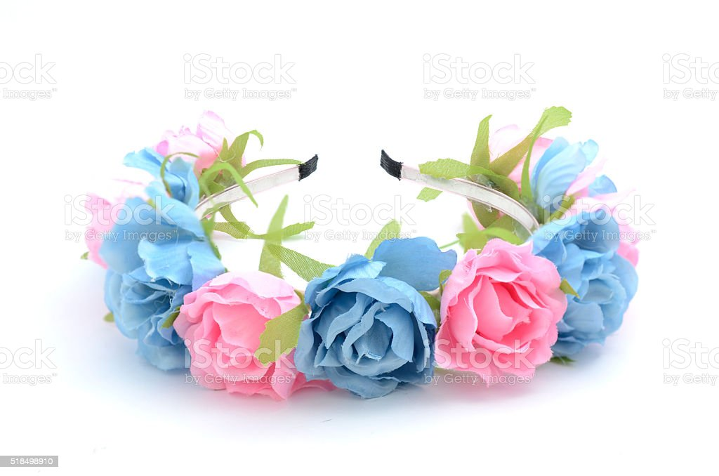 wreath with flowers isolated stock photo