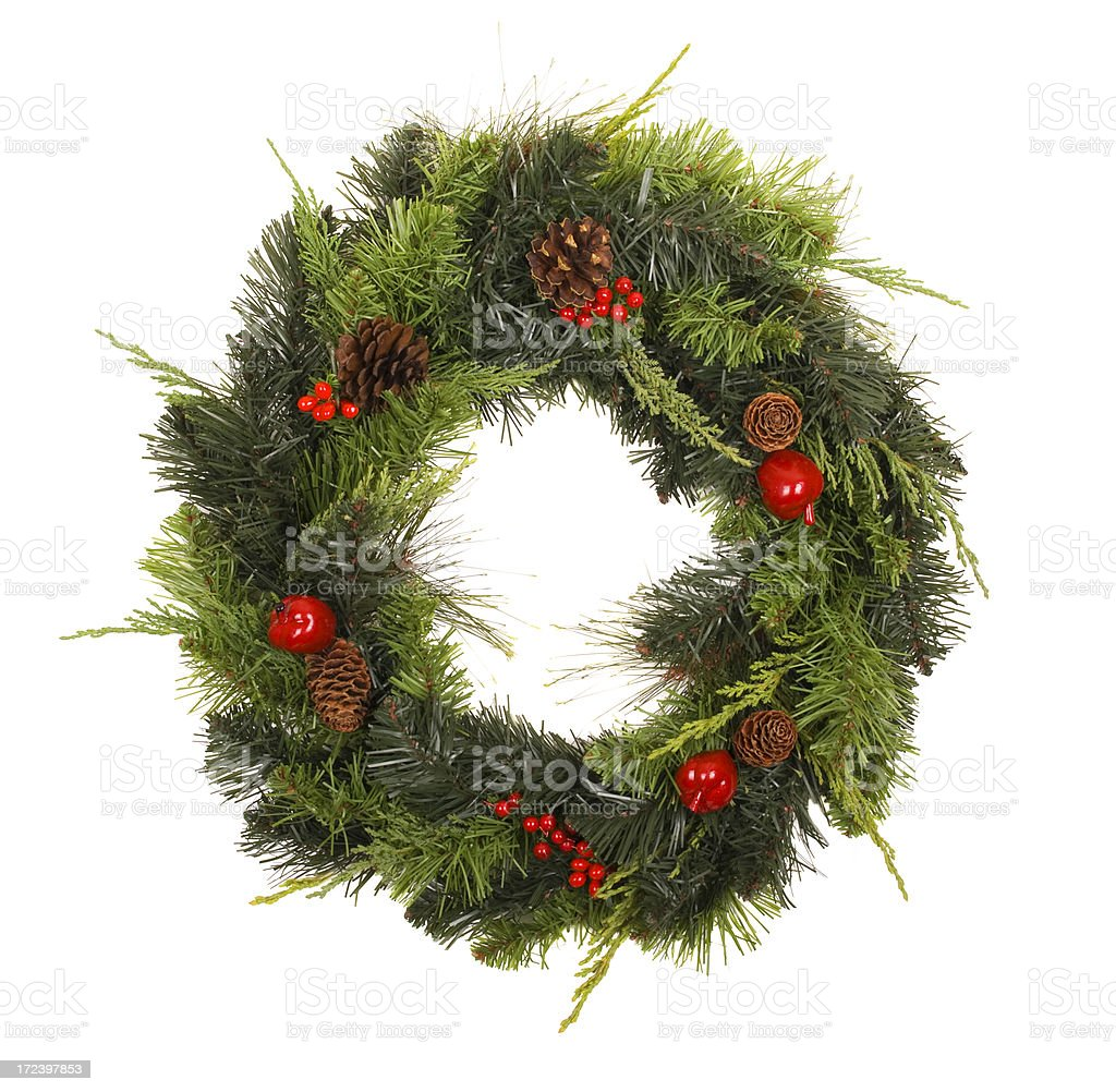 Wreath with pinecones and  berries royalty-free stock photo