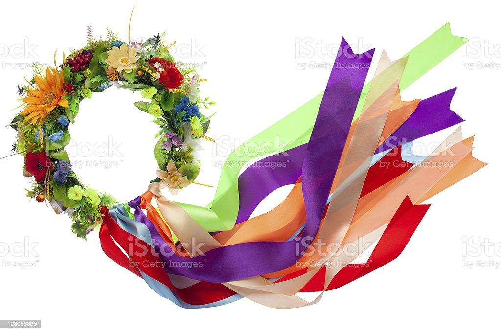 Wreath with satin ribbons, symbol of National Ukrainian folk cos stock photo