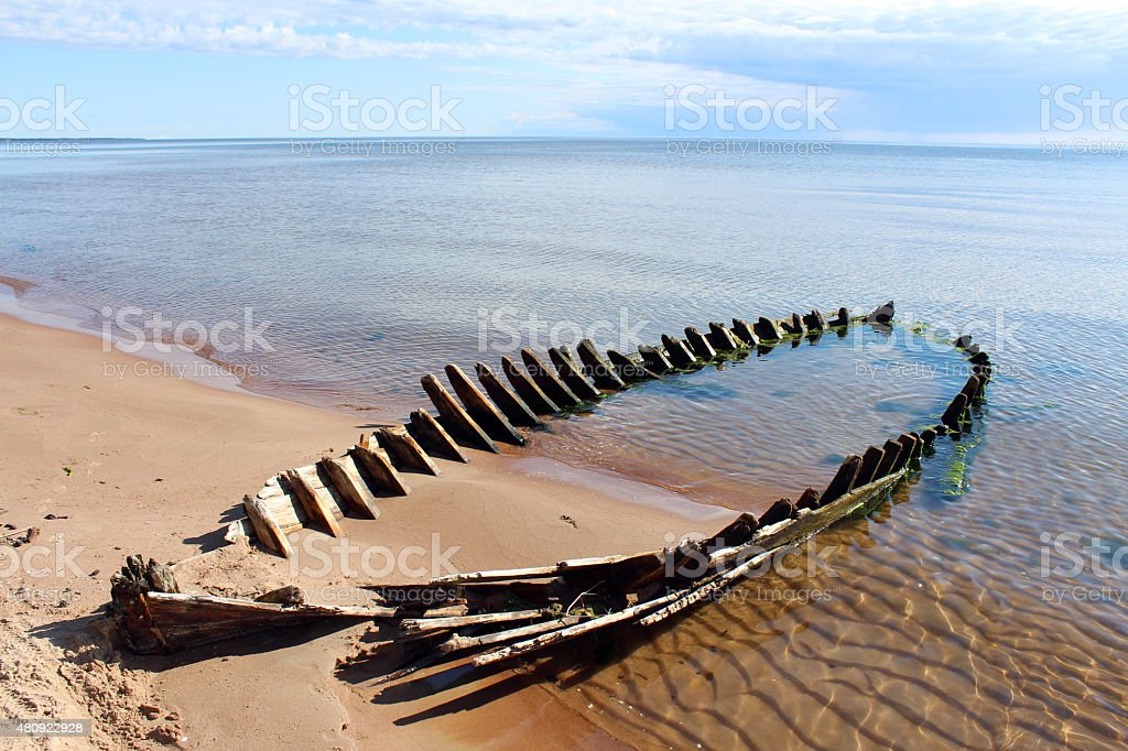 Wreck at the beach royalty-free stock photo