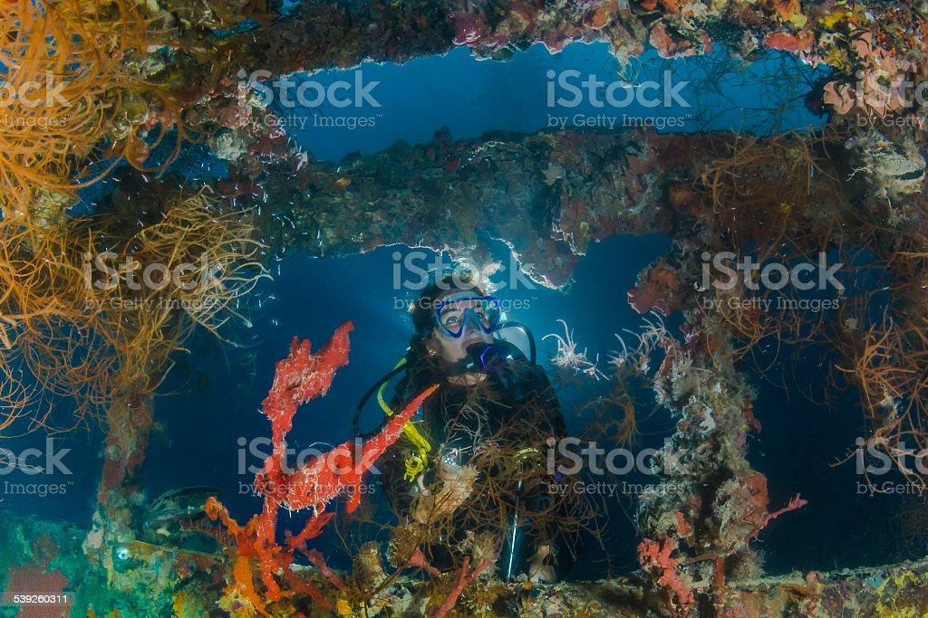 Wreck dive stock photo