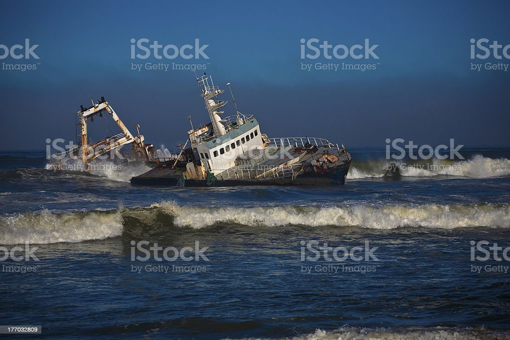 Wreck in namibie stock photo