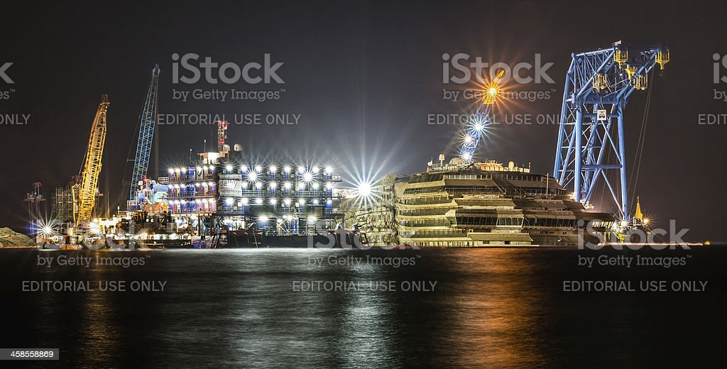 Wreck of Costa Concordia after Parbuckling by Night stock photo
