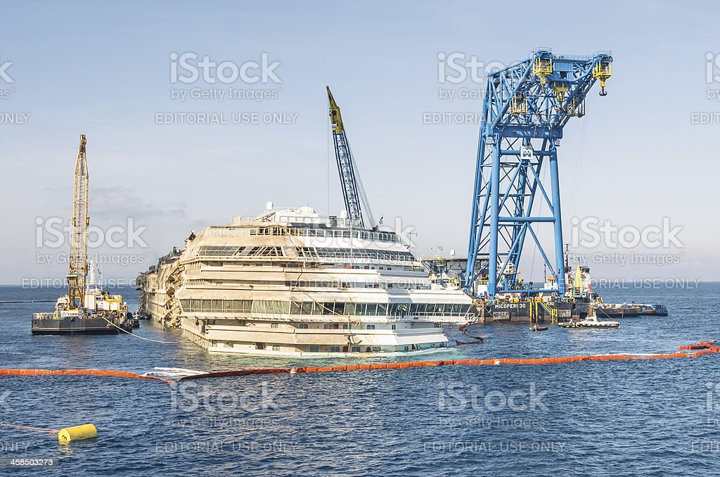 Wreck of Costa Concordia after Parbuckling stock photo