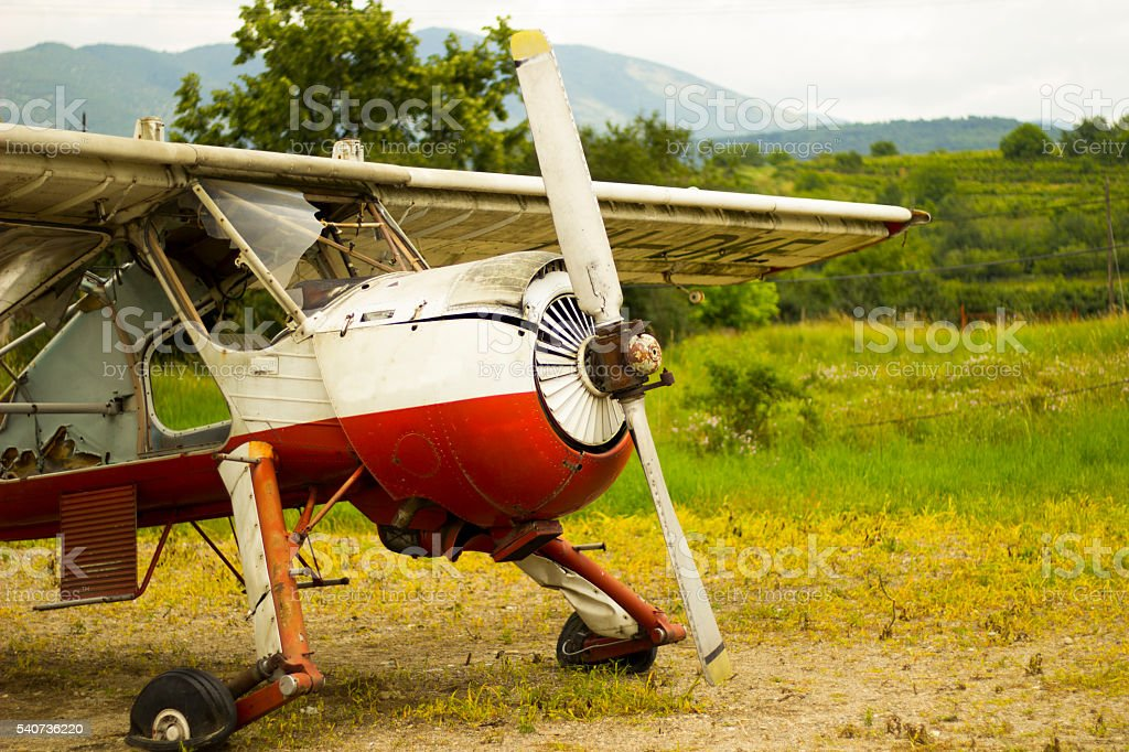 Wreck of the old plane. stock photo