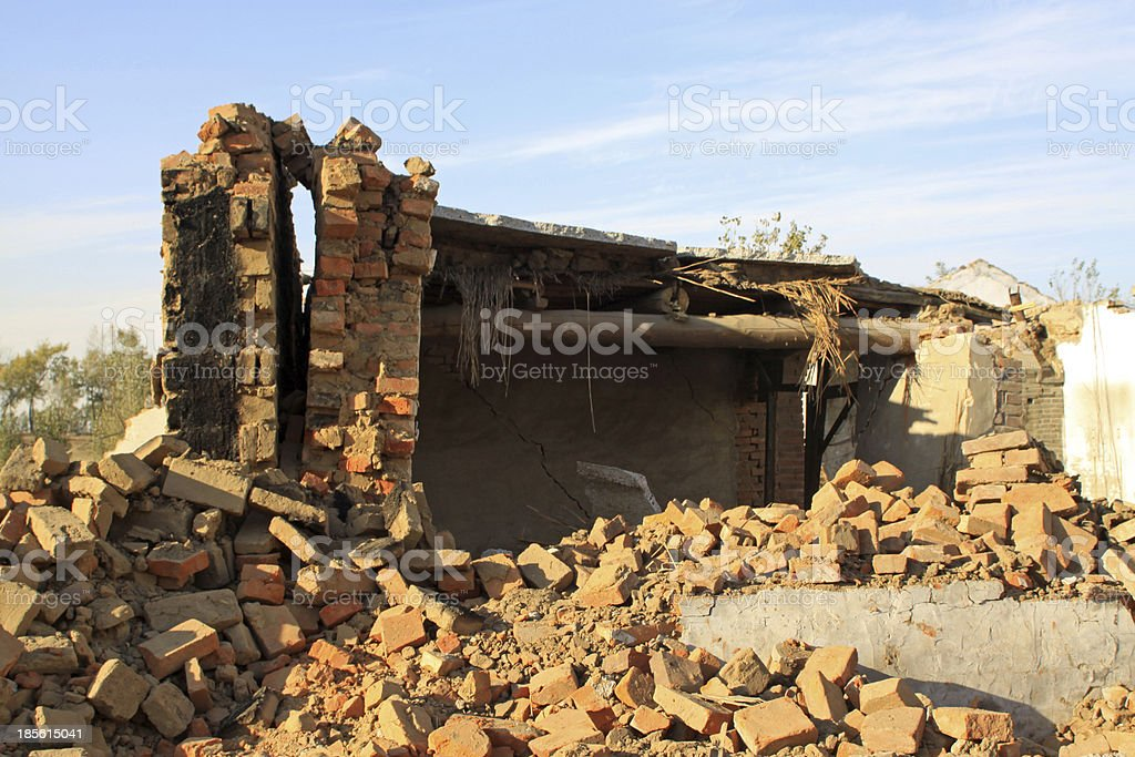 wreck of the wall after earthquake disaster royalty-free stock photo