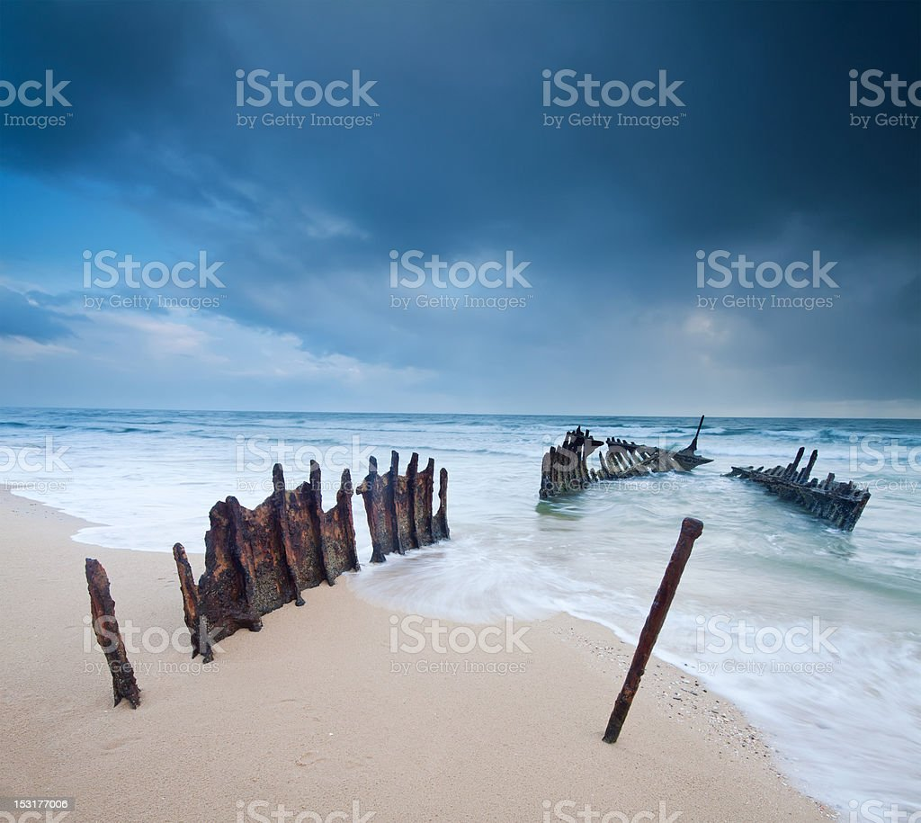 wreck on australian beach at dawn royalty-free stock photo