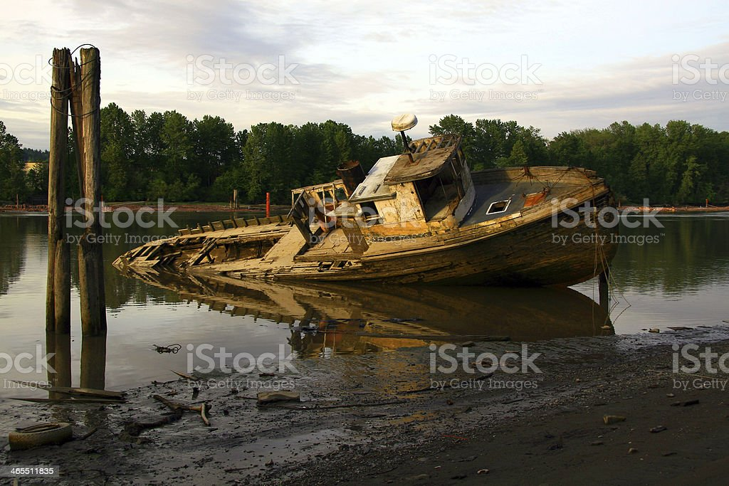 Wreck on the River royalty-free stock photo