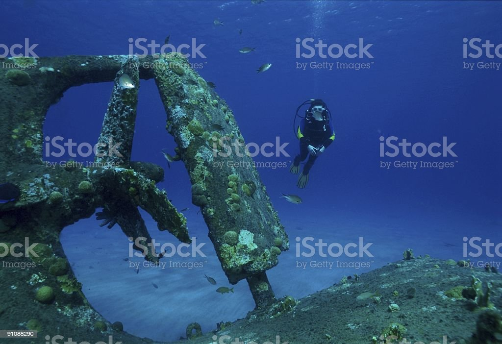 wreck with model royalty-free stock photo