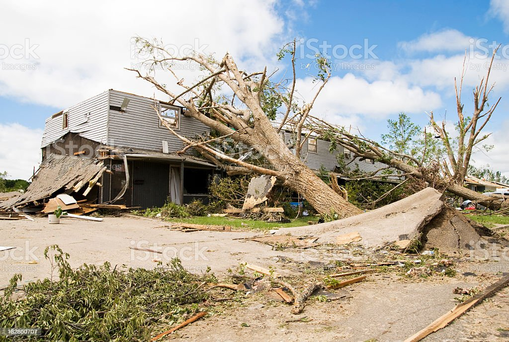 Wreckage of a neighborhood after a hurricane stock photo