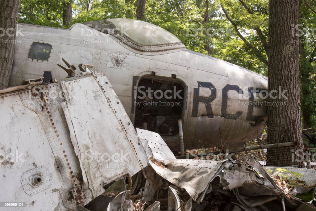 Wreckage of Air Force fighter jet stock photo