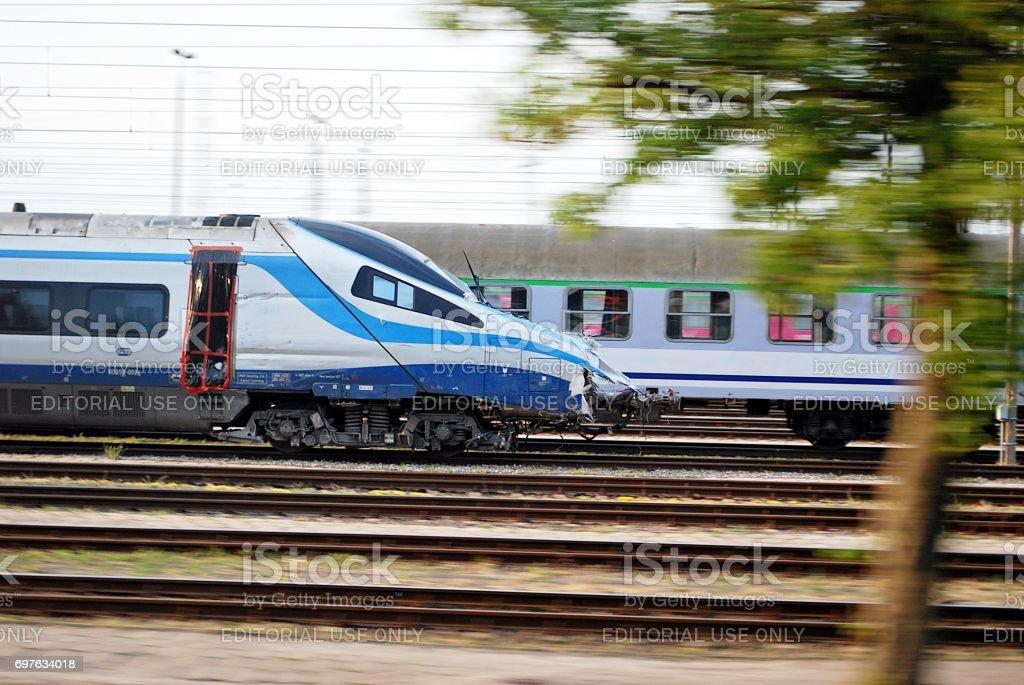 A wreckage of crashed Pendolino train stock photo