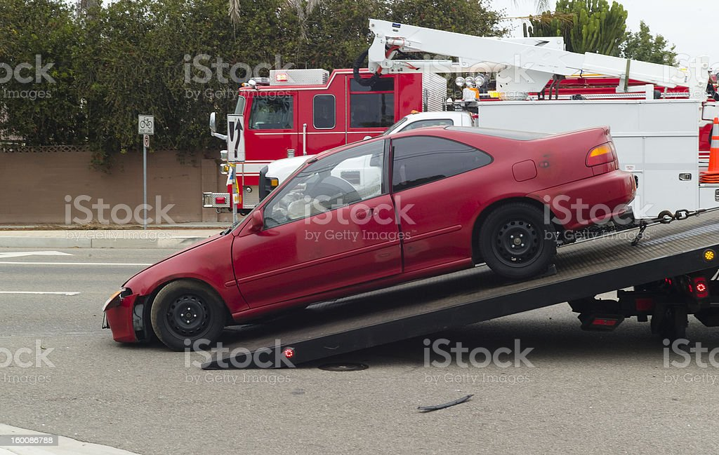 wrecked automobile stock photo