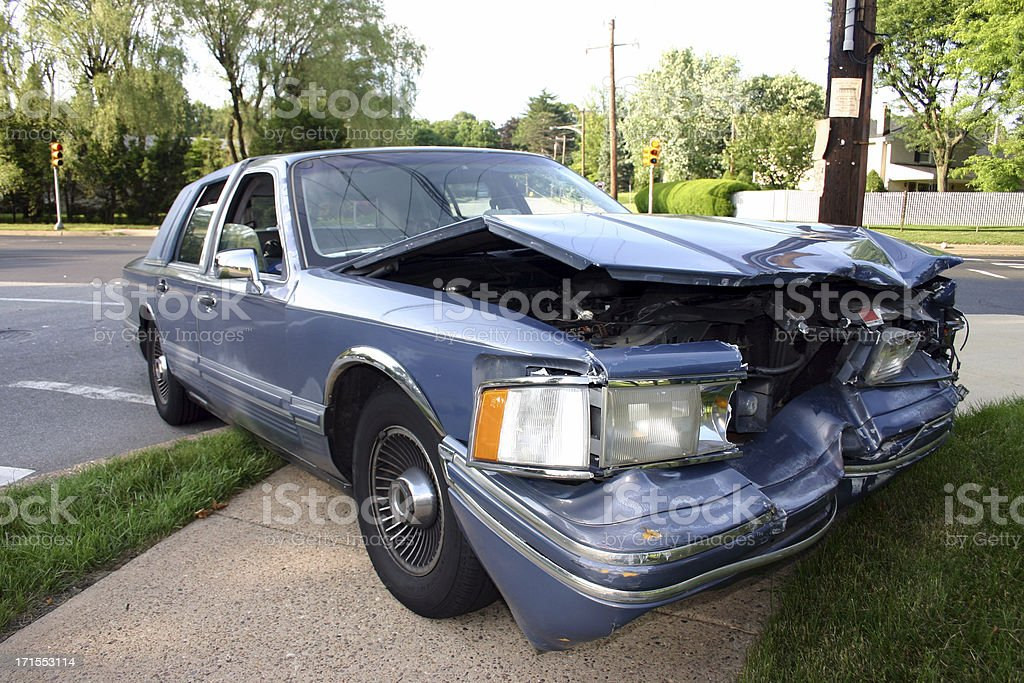 Wrecked Luxury Car in Philly stock photo