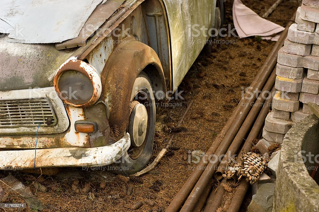 wrecked old car stock photo